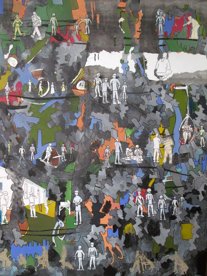 YaWa, 4' x 3', Mixed Media, 2011 (Sold)